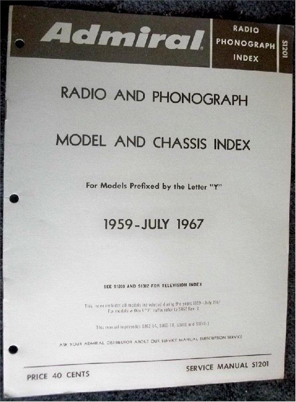 Admiral Radio and Phonograph Model and Chassis Index