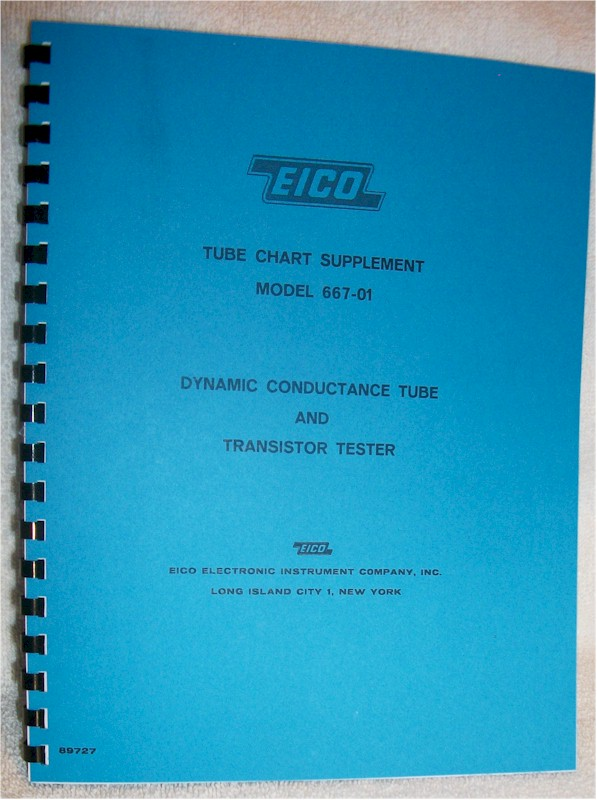 Manual: Eico 667-1 Tube Chart Supplement