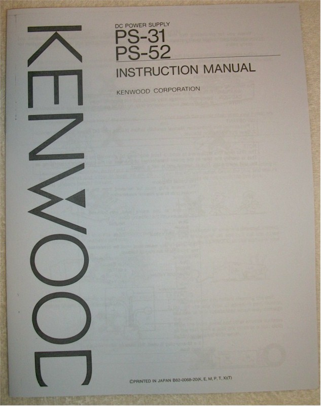 Kenwood DC Power Supply PS-31, PS-52 Manual
