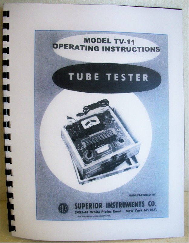 Superior TV-11 Tube Tester Operating Instruction Manual